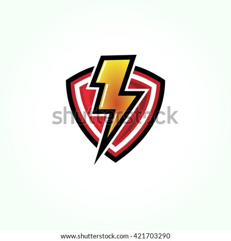 red shield with a glossy orange yellow logo of electricity on it. thunder protection logo - stock vector