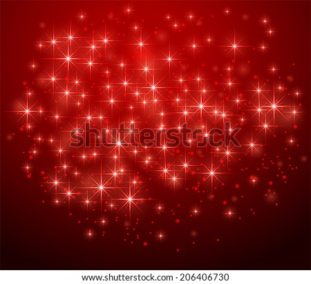 Red shining background with stars and blurry lights, illustration. - stock vector