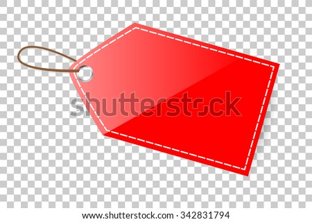 Red Shining Blank Tag  - stock vector
