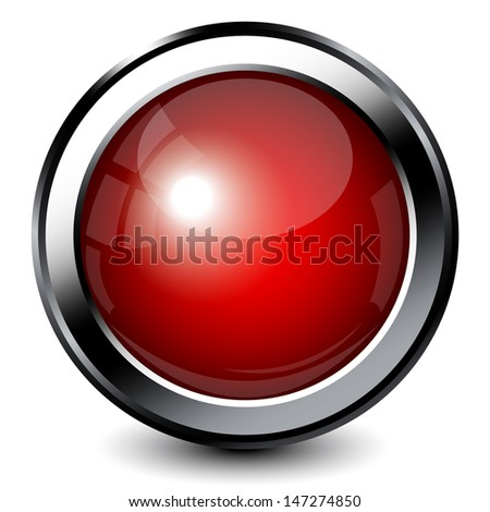 Red shiny button with metallic elements - stock vector