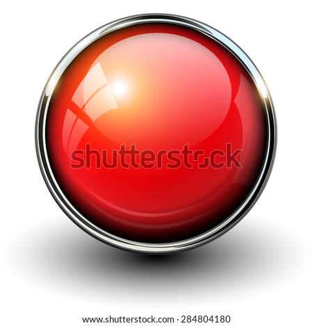 Red shiny button with metallic elements, vector design for website. - stock vector