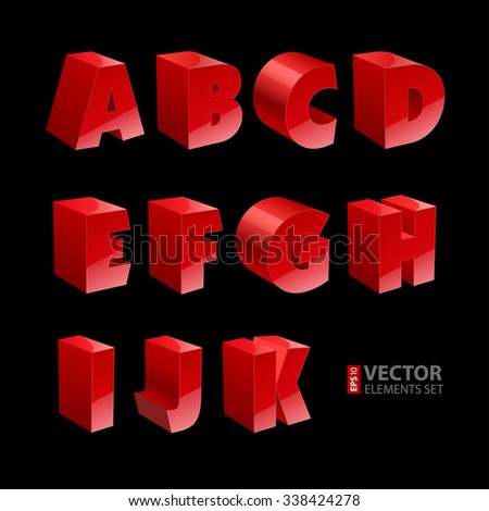 Red shiny 3d solid bold font A-K letters isolated on black background. RGB EPS 10 vector illustration - stock vector