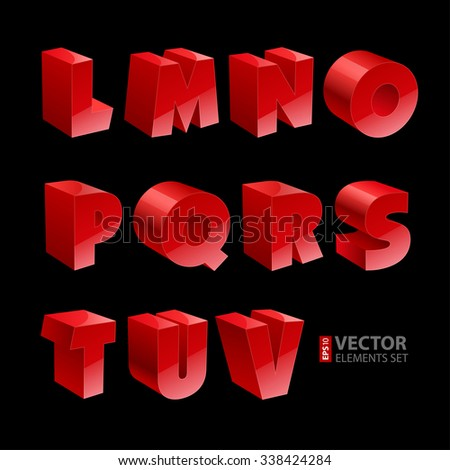 Red shiny 3d solid bold font L-V letters isolated on black background. RGB EPS 10 vector illustration - stock vector
