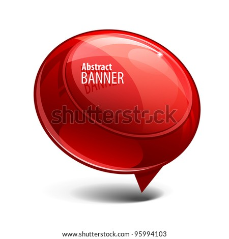 red Shiny gloss banner - stock vector