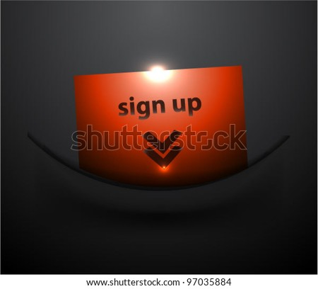 Red shiny sign up arrow icon in dark pocket - stock vector