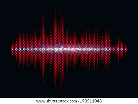 Red shiny sound waveform with hex grid light filter - stock vector