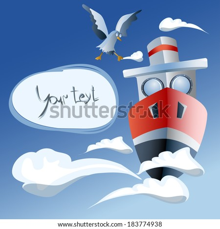 red ship in the air  frame. clouds,   seagull - stock vector