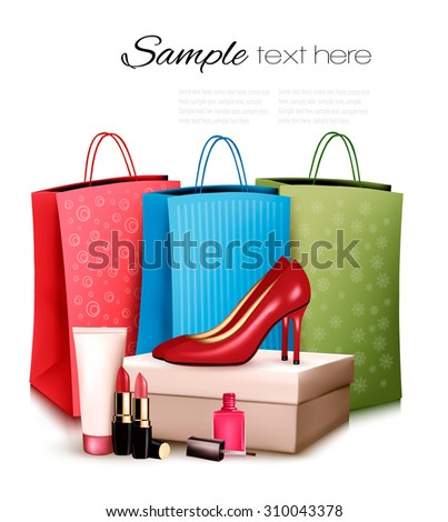 Red shoes and cosmetics with colorful shopping bags. Concept of sale. Vector.