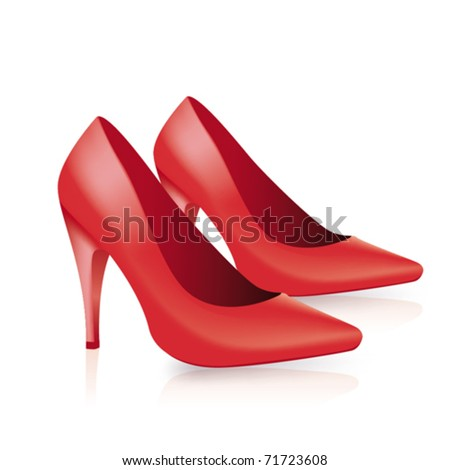 Red shoes in white background