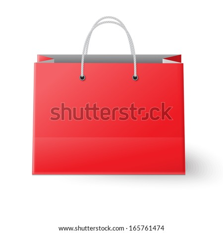 Red shopping bag isolated on white background - stock vector