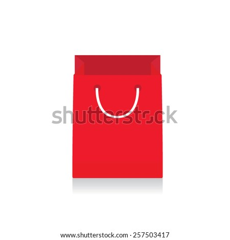Red shopping bag with shadow. Vector illustration eps10.