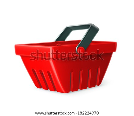 Red shopping basket vector icon - stock vector