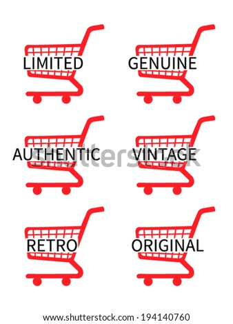 Red Shopping Cart Icons with Vintage Texts - stock vector