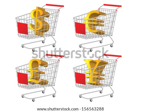 Red Shopping Cart with Money Signs: Dollar Euro Pound Yen - stock vector