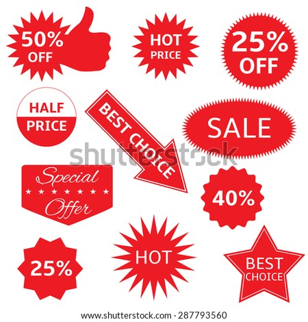 Red shopping labels for e-shop. Hot price, best choice, half price, special offer, sale icon set - stock vector