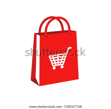 Red shopping paper bag with basket icon VECTOR