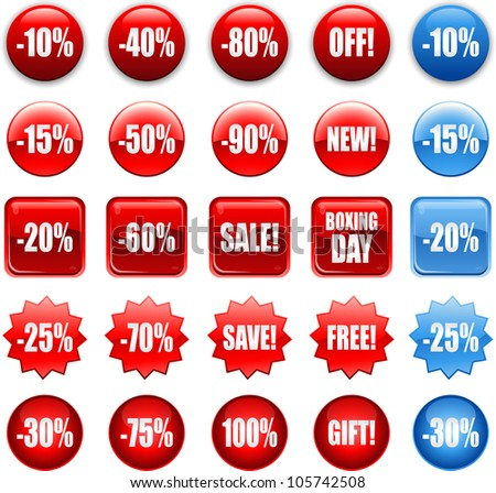 red shopping sales icons, stickers and labels tags - stock vector