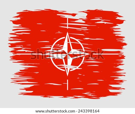 Red sign NATO made in the form of a trace of paint brush. The flag on the wall. Vector. Icon. - stock vector