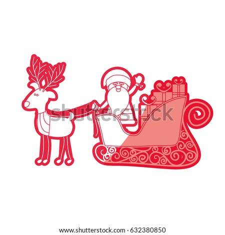 red silhouette caricature reindeer with santa claus in sleigh with gifts vector illustration - Reindeer With Santa