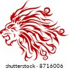 Red silhouette of a head of a tiger with a flame - stock vector
