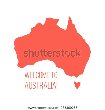red silhouette of Australia with inscription welcome. concept of world tour, international tourism and invitation travelers. isolated on white background. trendy modern design vector illustration - stock vector