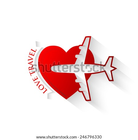 Red silhouette of jet airplane on heart shape - Love to Fly icon concept - stock vector