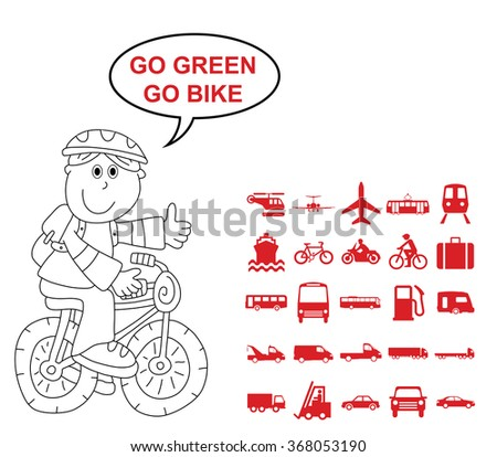 Red silhouette transport and travel related graphics collection isolated on white background with go green go bike message - stock vector