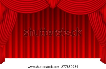 Red silk curtain with light from the searchlight