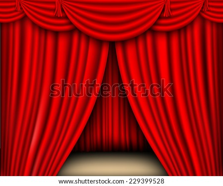 red silk curtain with shadows and pelmet - stock vector