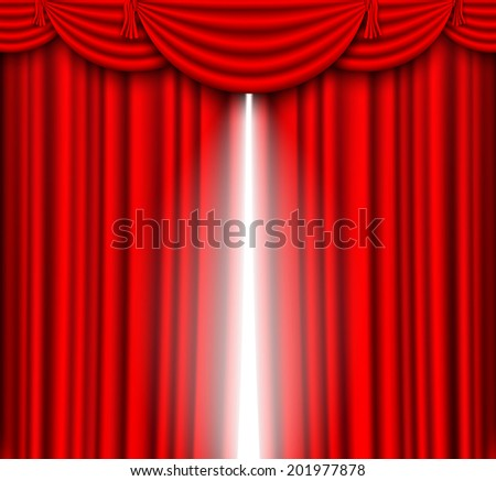 red silk curtains stage - stock vector