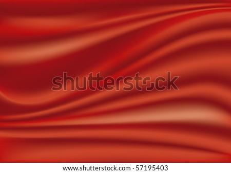 Red silk fabric - stock vector