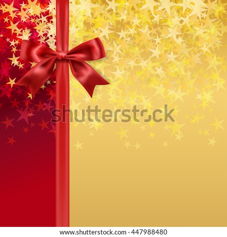 red silky bow and ribbon on starry holiday golden background. vector  - stock vector