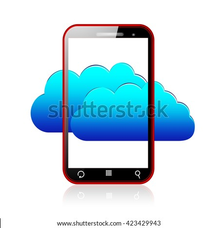 Red smartphone and blue cloud computing concept