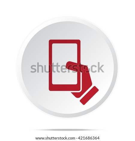 Red Smartphone  icon on white web button - stock vector