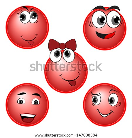 RED Smiles character set, vector - stock vector