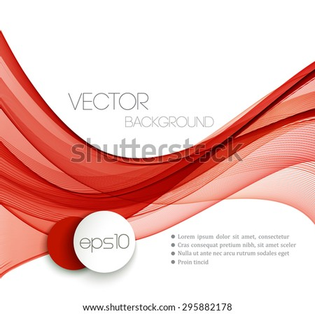 Red Smooth wave stream line abstract header layout. Vector illustration - stock vector