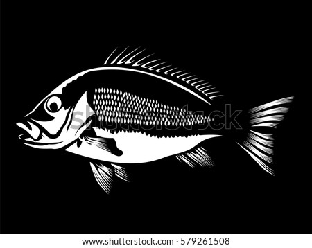 red snapper logo. red snapper with rods and ocean waves fishing logo isolated on white vector illustration.