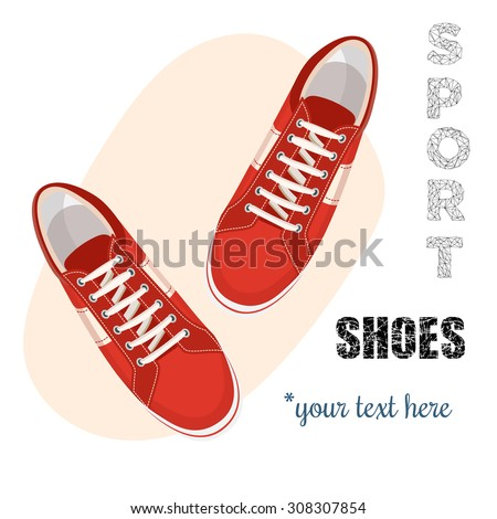 Red sneakers for unisex. Sport shoes. Vector illustration isolated on white background. - stock vector