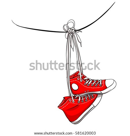 Hanging Pictures On Wire sneakers hanging stock images, royalty-free images & vectors