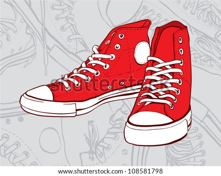 Red sneakers isolated on gray abstract background - stock vector