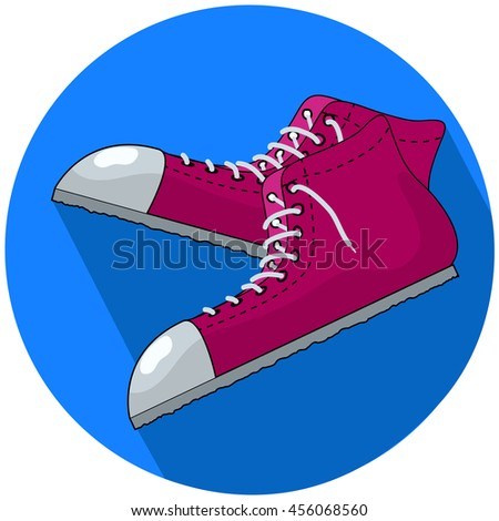 Red sneakers vector illustration in flat style. Single sneakers with white ribbon toe cap and loose laces. Pair of casual shoes for street life, joggling, stylish fashion look. Sport footwear isolated - stock vector