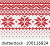 Red snowflake seamless knitted background. EPS 8 vector illustration. - stock vector