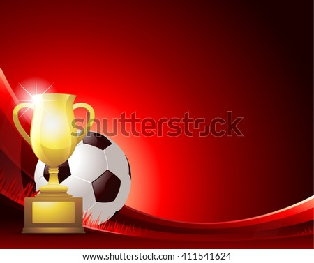 Red Soccer background with ball and trophy - stock vector