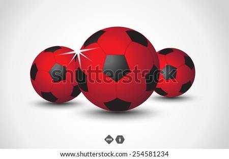 Red soccer balls on light background - stock vector