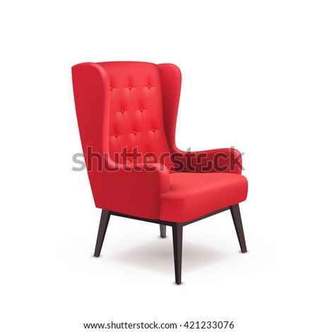 Red Soft Wooden Realistic Chair Icon On White Background With Shadows And Indentations Vector Illustration
