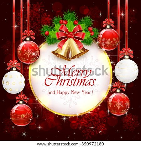 Red sparkle background with Christmas balls, golden bells, bow, holly berry, fir tree branches, illustration. - stock vector