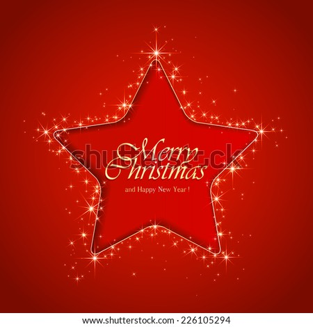 Red sparkle background with Christmas star, illustration. - stock vector