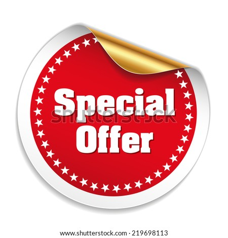 Red special offer sticker on white background