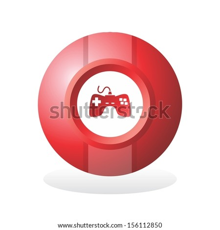 red sphere game icon button - stock vector