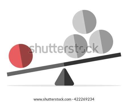 Red sphere outweighing many gray ones on scales isolated on white. Leadership, individuality, uniqueness, success, efficiency and competition concept. EPS 8 vector illustration, no transparency - stock vector
